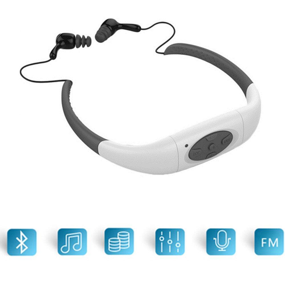 Neckband Waterproof Earphone,8GB Swimming Neckband Sweatproof Headset with FM Radio Sport Businda Underwater Earphone Swim Surfing (White)
