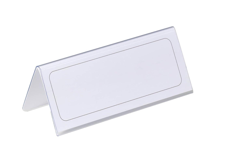 DURABLE 805019 - Segnaposto da tavolo, leggibile da entrambi i lati, 61/122x150 mm, trasparente, confezione da 25 pezzi