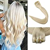 Full Shine 8 Pieces 14' 7A Grade 120g Seamless Human Hair Clip in Extensions Full Head Skin Weft Pu Tape in Human Hair Extensions Color #60 Blonde Full Head Clip in Hair Extensions Real Hair