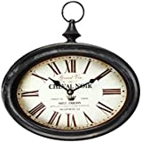"""Adeco Black Iron Vintage-Inspired Pocket Watch Style Oval Oblong Wall Hanging Clock """"Cheval Noir"""" Home Decor, off- white Dial"""