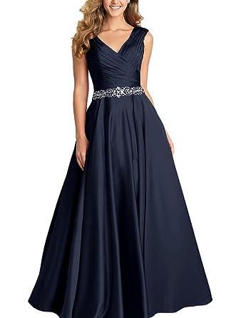 b6080d03912 Beading A-line Formal Evening Dress Maxi Bridesmaid Gown Sleeveless Navy  Blue Size 2
