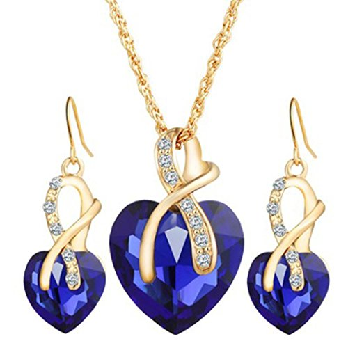 Mother's Day Gift Daoroka Austrian Crystal Fashion Heart Jewelry Sets Necklace Earrings Wedding Party Accessories (Length:44 cm +5cm Earrings 2.9cm, Blue) - Mother Of Pearl Sapphire Necklace
