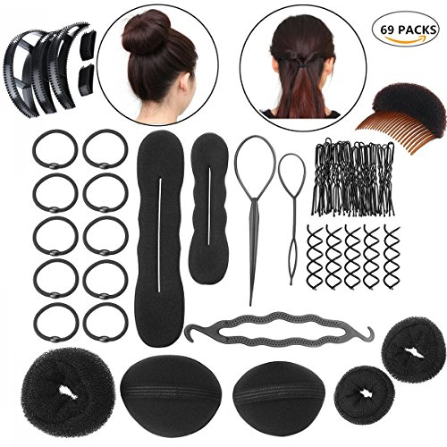 69Pcs DIY Hair Styling Accessories Kit Set Clip Stick Bun Maker Braid Tool Hair Accessories Pump Beauty Tool Gift for Women Lady Girl by BeautyCoco