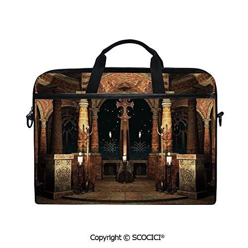 (Durable Waterproof Printed Laptop Shoulderr Bag Dark Mystic Ancient Hall with Pillars and Cross Dome Shrine Building Print Computer Briefcases for 15 inch)