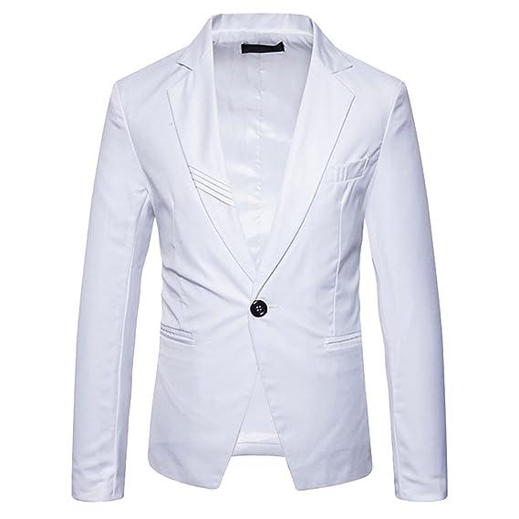 Chaqueta de Traje para Hombre Manga Larga Slim Fit Un Botón Americanas Blazer Blanco M: Amazon.es: Ropa y accesorios