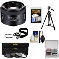Sony Alpha 50mm f/1.4 Lens with 3 (UV/ND8/CPL) Filter Set + Tripod + Digital SLR Camera Cleaning Accessory Kit