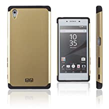 Lilware Angular Armor Hard Plastic Case for Sony Xperia Z5. Rugged Dual Layer Protective Cover. Black / Golden Color