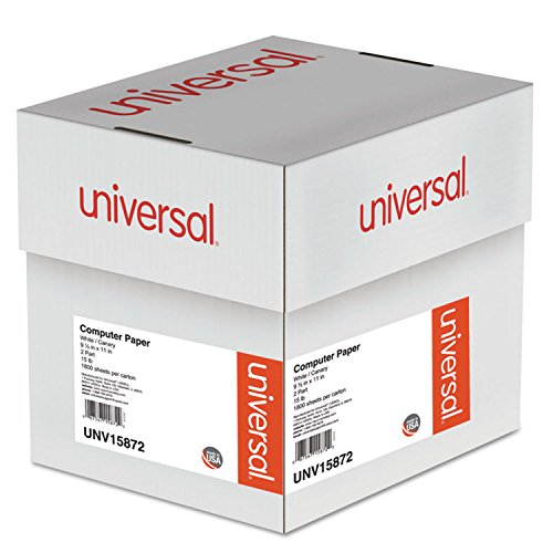 Universal 15872 Multicolor Computer Paper, 2-Part Carbonless, 15lb, 9-1/2 x 11, 1800 Sheets