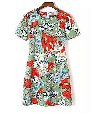 PU&PU Robe Aux femmes Trapèze Street Chic,Fleur Col Arrondi Au dessus du genou Polyester , green-l , green-l