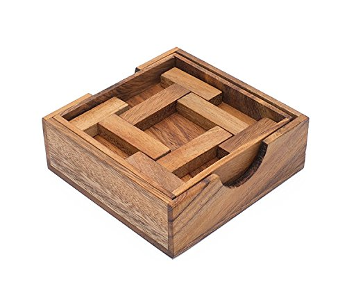 Ilium Remains: Handmade & Organic 3D Brain Teaser Wooden Puzzle for Adults from SiamMandalay with SM Gift Box(Pictured) ()