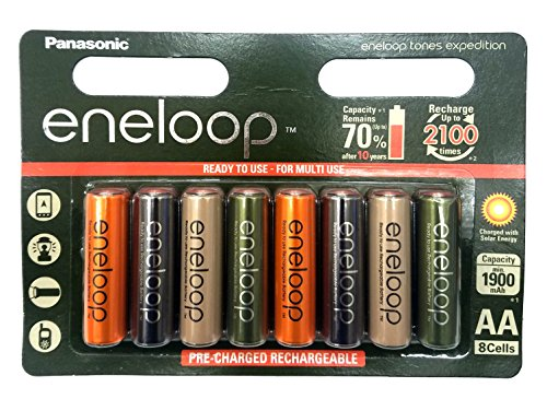 8 Pack AA Multi Use/Color Panasonic Eneloop Rechargeable Ni-HM batteries - Eneloop tones Expedition - Multi Use Color