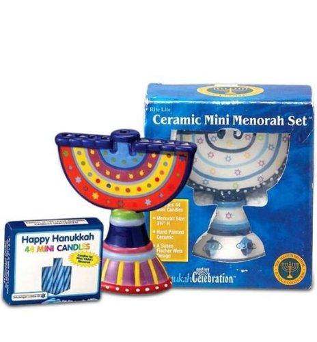 Rite Lite MSCR-11 Ceramic Mini Menorah - Includes Candles - Pack Of 2 by Rite Lite