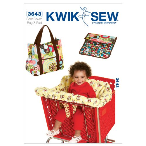 Kwik Sew K3643 Shopping Cart Seat Cover and Diaper Bag with Changing Pad Sewing Pattern, No (Sewing Pattern Book Cover)