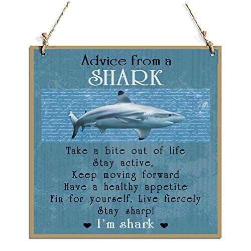 Advice From A Shark Decorative Sign With Shark Decor Sign Blue(11