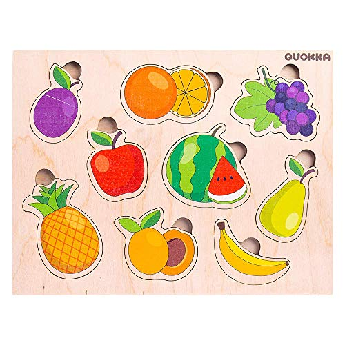 Puzzle Fruits. Eco-Friendly 100% Wood. 9 Pieces: Plum, Pineapple, Apple, Orange, Aapricot, Watermelon, Grape,Peach, Banana. Non-Toxic Paints. Perfectly Smooth. Kids 12-48 Months. Size 7.5' x 9.8'