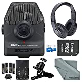 Zoom Q2n Handy Video Recorder Deluxe Bundle with Stereo Headphones + Clip Clamp + 32 GB SD + AA Batteries w/ Charger + FiberTique Cleaning Cloth