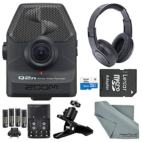 Zoom Q2n Handy Video Recorder Deluxe Bundle with Stereo Headphones + Clip Clamp + 32 GB SD + AA Batteries w/ Charger + FiberTique Cleaning Cloth by Photo Savings
