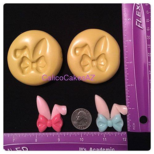 Large Bunny Chocolate Mold (Large Bunny Ears and Bow Fondant Mold Set Chocolate Gumpaste)
