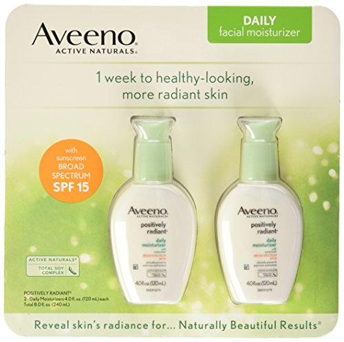 Aveeno Positively Radiant Skin Daily Moisturizer SPF 15, 4 Ounce (Pack of 2) (Aveeno Radiant Spf 15)