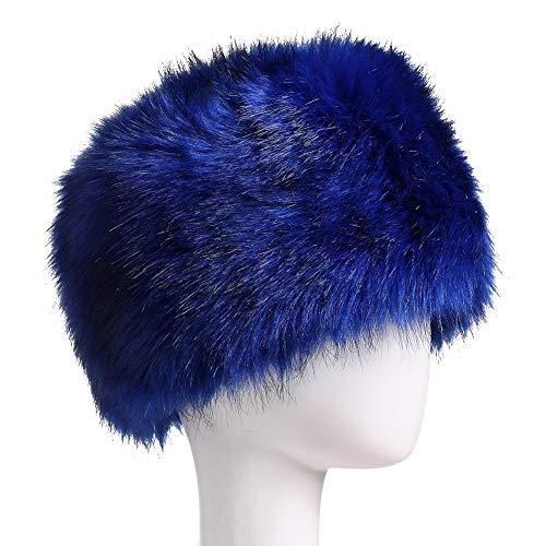 - Yetagoo Faux Fur Women Russian Cossack Hat for Ladies Winter (M, Blue)