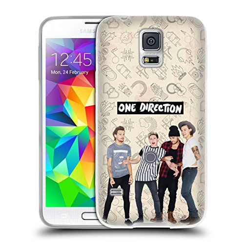 Official One Direction Brown Group Icon Soft Gel Case for Samsung Galaxy S5 / S5 Neo (One Direction S5 Cover compare prices)