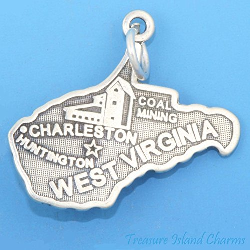WEST Virginia State MAP Charleston Huntington .925 Solid Sterling Silver Charm Ideal Gifts, Pendant, Charms, DIY Crafting, Gift Set from Heart by Wholesale Charms ()