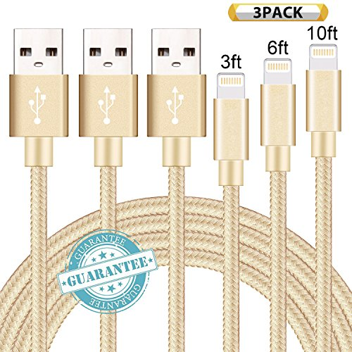 DANTENG Lightning Cable 3Pack 3FT 6FT 10FT Nylon Braided Certified iPhone Cable USB Cord Charging Charger for Apple iPhone X, 8, 7, 7 Plus, 6, 6s, 6+, 5, 5c, 5s, SE, iPad, iPod Nano, iPod Touch (Gold)
