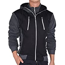 Hee Grand Men's Fall Winter Long Sleeve Hooded Cotton Fleece Coat
