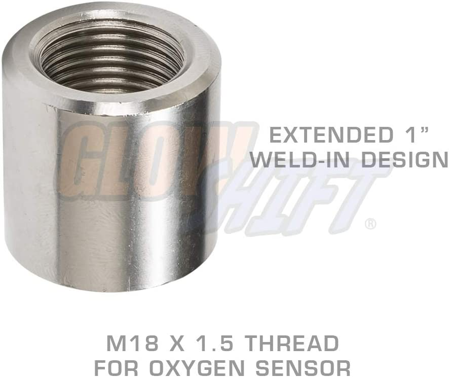 GlowShift Wideband Air//Fuel Ratio Oxygen Sensor Notched Weld-In Bung M18 x 1.5