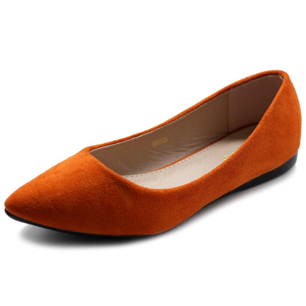 Ollio Women's Ballet Comfort Light Faux Suede Multi Color Shoe Flat ZM1038(8.5 B(M) US, Orange)