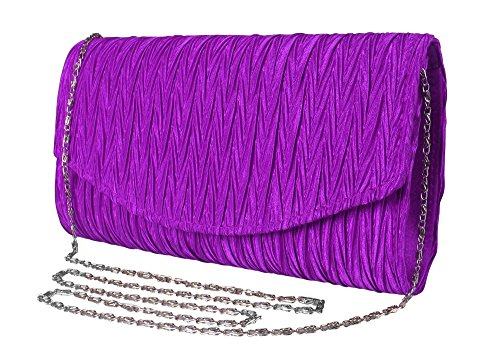 Peach Couture Womens Vintage Satin Pleated Envelope Evening Cocktail Wedding Party Handbag Clutch (Purple)