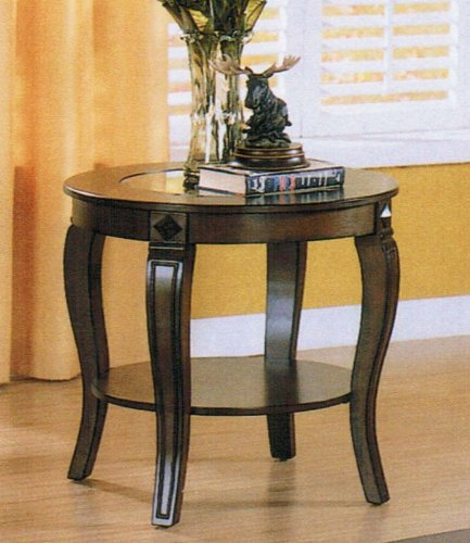 Round End Table with Glass Top and Bottom Shelf by Acme Furn