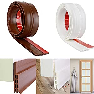 ONUEMP Door Draft Stopper, 2 Pack Weather Stripping Door Frame - 2in Width x 39in Length Door Seal Strip, Adhesive Under Door Sweep for Door Gap Cracks to Prevent Pest(Brown/White)