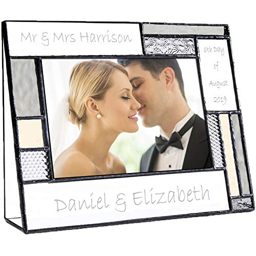 (Wedding Picture Frame Personalized Gift for Couple Engraved Glass Table Top 4x6 Horizontal Photo Engagement Keepsake J Devlin Pic 392-46H EP624)