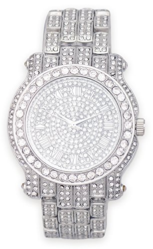 Men's Iced Out Watch (Silver) with Simulated Cubic Zirconia Crystals