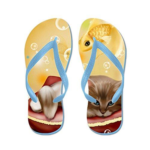 Echt Teague Heren Kitten Met Goudvis Droomt Rubber Slipper Sandalen Caribbean Blue