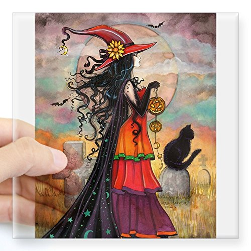 CafePress - Witch Way Halloween Witch Art - Square Bumper Sticker Car Decal, 3