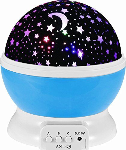 Sun And Star Lighting Lamp 4 LED Bead 360 Degree Romantic Room Rotating Cosmos Star Projector With 59 Inch USB Cable, Light Lamp Starry Moon Sky Night Projector Kid Bedroom Lamp for Christmas (Blue) (Home Christmas Row Decorations)