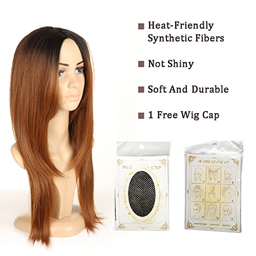 Brown Ombre Wigs For Women Long Straight Wigs Black Roots Wig by Ifolder (Image #2)