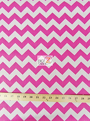 WHITE/FUCHSIA 1 ZIG ZAG CHEVRON POLY COTTON FABRIC 58/59 WIDTH SOLD BY THE YARD (P247) by Big Z Fabric   B00KY43AS6