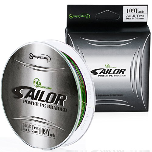 Sougayilang Braided Fishing Line,Abrasion Resistant Fluorocarbon Wire Super Strong High Performance PE Fishing Lines,100M(109 Yards)/1000M(1102 Yards) for Saltwater and Fresh Water For Sale