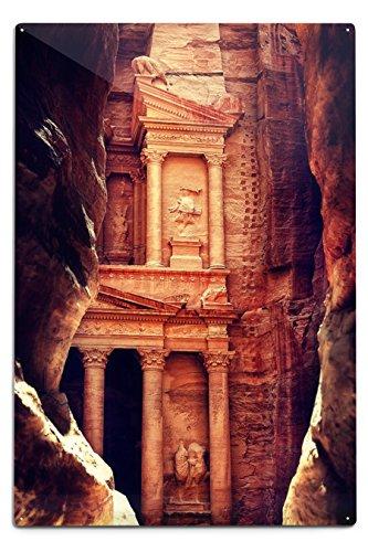 Petra, Jordan - The Treasury (Al-Khazneh) - Archaeological Site (12x18 Aluminum Wall Sign, Wall Decor Ready to Hang) by Lantern Press