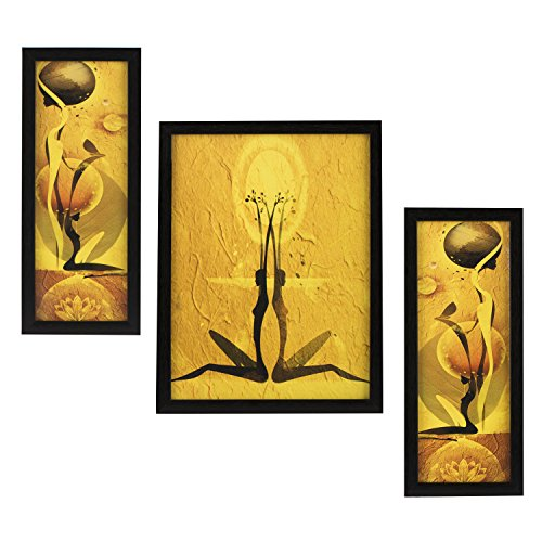 3 PC SET OF MODERN ABSTRACT PAINTINGS WITHOUT GLASS 5.2 X 12.5, 9.5 X 12.5, 5.2 X 12.5 INCH