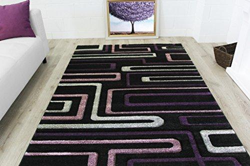 Havana Living Room Set (Stylish Modern Funky Geometric Purple & Black Living Room Area Rug - Havana 2'6