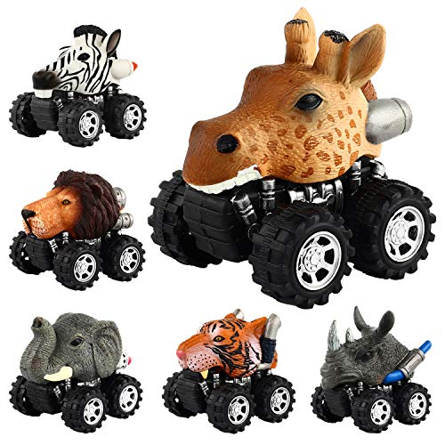 Pull Back Animal Car, Car Toy with Big Tire Wheel(6 Pack) For 3+ Years Old Boys Girls, Monster Vehicle Playset Preschool Learning Birthday, Jungle Themed Party Favors Creative Gifts for Kids Children -
