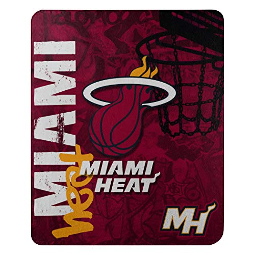The Northwest Company NBA Miami Heat Hard Knocks Printed Fleece Throw, 50-inch by 60-inch, Blue ()