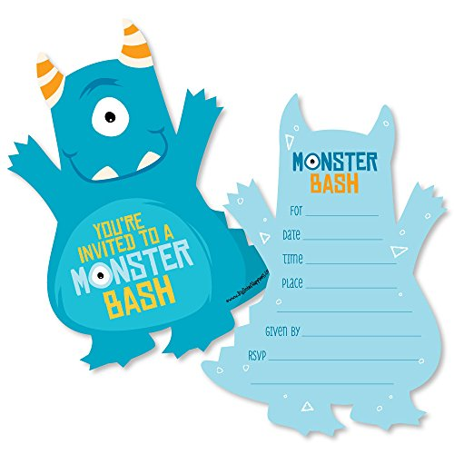 Monster Bash - Shaped Fill-In Invitations - Little Monster Birthday Party or Baby Shower Invitation Cards with Envelopes - Set of 12 by Big Dot of Happiness