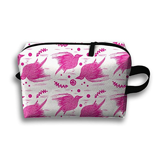 Pink Crow Full Print Stylish Travel Cosmetic Pouch Bag Storage Storage Package Cosmetic Bags For Travel Home Toiletry Purse Pouch With Zipper (Stoner Halloween Costume Ideas)