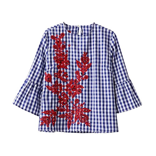 Fedi Apparel Women's Embroidery Floral Striped Long Sleeve Blouse Tops T-shirt
