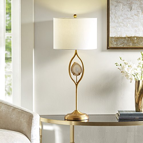 Madison Park MP153-0127 Carla Desk Lamp, Bedside Nightstand Bedroom Light Modern Luxe Design, Metal Post with Natural Agate Stone Accent, Drum Shade, 32